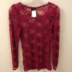 Pink Lace Mesh Top